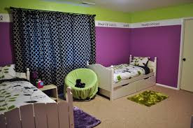Lime And Purple Bedroom Wall Theme With Black Pattern Curtains