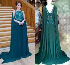 2016 dark green cape style evening dresses elie saab lace applique