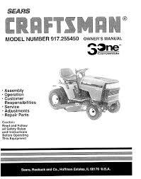 Craftsman Lt2000 Drive Belt Diagram by Sears Lawn Mower 917 25545 User Guide Manualsonline Com