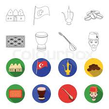 Turkish Carpet Saz Drum MenTurkey Set Collection Icons In Outlineflet Style Vector Symbol Stock Illustration Web