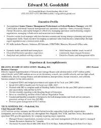 Executive Profile For Accomplished Senior Finance Management Professional With Resume And Experience As Busniess Manager Objective