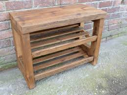 Simple Style Wooden Outdoor Shoe Rack In Charming Design Idea