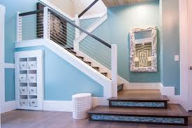 Gorgeous Driftwood Mirror Trend Jacksonville Tropical Staircase Innovative Designs With Accent Tiles Beige Wall Blue Mosaic Tile Stairs