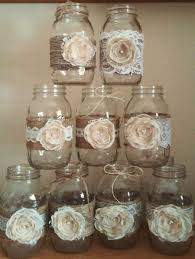 10 Shabby Chic Mason Jar Sleeves Rustic Wedding Centerpieces Decorations Burlap And Lace Jars