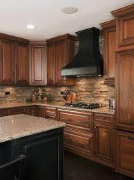 Kitchen Backsplash Ideas With Dark Wood Cabinets by Stone Backsplash Stove Hood Click Image To Find More Home Decor
