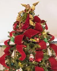 4inx10 Yard Red Velvet Glitter Ribbon Alt Bold Christmas Tree