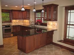 Walnut Wood Orange Zest Shaker Door Kitchens With Oak Cabinets