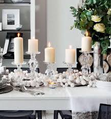 Dining Room Decor Ideas With Easy White Christmas Decorations Candles On Table And Centerpiece Decorating