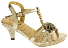 girls kids gold party low heel wedding heels shoes size 8 9 10 11