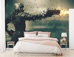fototapete anime waffe soldat fototapeten tapete wandbild pistole futuristisch m5851
