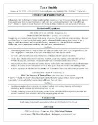Early Childhood Resume Sample Child Care Development
