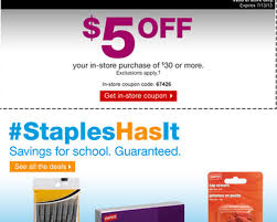 Staples $5 Off $30 Purchase Printable Coupon - Al.com