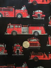 Fireman Engines Fire Trucks On Black Novelty Quilt Fabric Fat ...