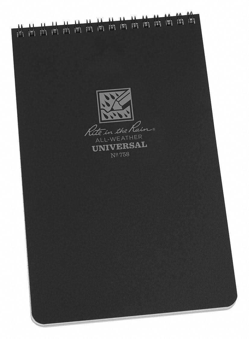 Rite in The Rain 758 All Weather Notebook, Black Cover