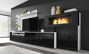 home innovation moderne wohnwand tv lowboard esszimmer mit kamin bioethanol schrankwand wohnzimmer kamineinsatz verarbeitung weiß mate und