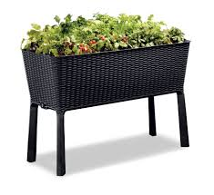 Sams Club Wicker Deck Box by Keter Easy Grow Patio Garden Flower Plant Planter Raised Elevated