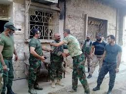 siege army see saa soldiers embrace after finally breaking is siege of deir ez