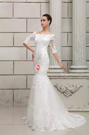 off the shoulder drop waist mermaid lace wedding dress lunss couture