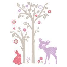 stickers chambre bébé arbre sticker mural lapin faon et arbre motif enfant fille pour