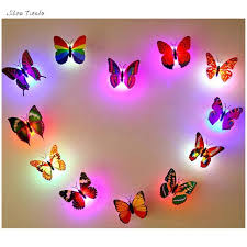 10 pcs wall stickers butterfly led lights wall stickers 3d house