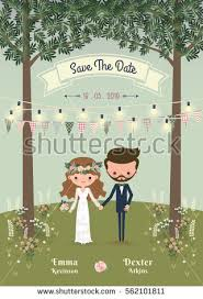 Rustic Bohemian Cartoon Couple Wedding Invitation Card In The Forrest Chic And Romantic