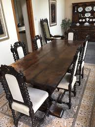 Antique Jacobean Revival Plank Top Trestle Table And Six Carved Dining  Chairs In Oyster | In Coalville, Leicestershire | Gumtree 6 Antique Berkey Gay Depression Jacobean Walnut Ding Room Table And Four Chairs With Bench Luxury Wood Set Of Eight Solid Carved Oak 1930s Or Gothic Style Kitchen Design Sets This Is Fantastic A Superb Large Oak Refectory Table Size 121 X 242cm Togethe Lovely Top Result 50 Pair Ethan Allen Royal Charter Side Early 20th Century Revival Lot 54 Mahogany Six Jacobean Chair Artansco