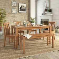 Weston Home Lexington 6 Piece Dining Set With Bench And Slat Back Chairs