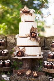 Rustic Fall Wedding Cake With Bird Nest Decor