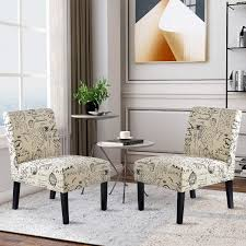 Harper&Bright Designs Upholstered Accent Chair Armless Living Room Chair  Set Of 2 (Beige&Script) Appealing Living Room Chairs Design Lounge Images Ashley Fniture Allouette Chair And A Half In Ash Great Immobiliesanmartinocom 120 Budget Picks For An Affordable But Stylish Small Fibi Ltd Home Ideas Fancy Chairs Living Room Cupsncakesco Perfect Fresh Modern Awesome Decors Contemporary Sofas Innovative Blue Transitional Pale Lars Leather Accent 2019 Suitable Concept Of For Homesfeed