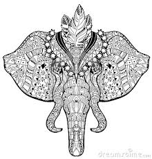 Circus Elephant Head Doodle On White Sketch