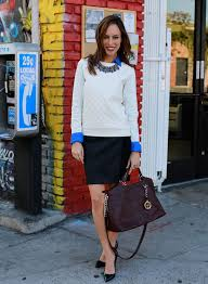 Sydne Style How To Wear A Leather Sweatshirt Pencil Skirt Street Trends Fall 2013 Outfit Ideas Winter White