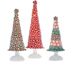 Qvc Bethlehem Lights Christmas Tree Recall by Set Of 3 Illuminated Peppermint Trees By Valerie Page 1 U2014 Qvc Com