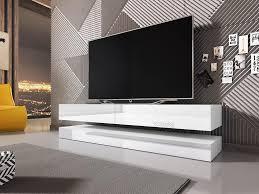 mirjan24 tv lowboard fly 140 tv schrank vom hersteller rtv mit beleuchtung wohnzimmer weiß weiß hochglanz