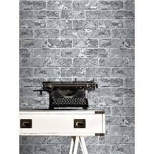 Metallic Tile Effect Wallpaper by Silver Black Brick Effect Wallpaper 262932 Windsor Wallcoverings