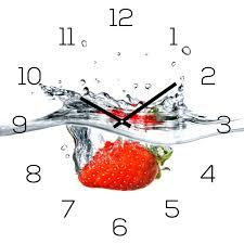 wanduhr alu dibond 30x30cm uhr alubild küche erdbeere frucht