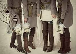 Matching Coats Instead Of Dresses For Outside Winter Wedding Pictures And Boots