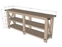 rustic x console amazing ana white sofa table 2 clotheshops us