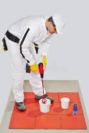 how to mix tile adhesive on stock image image 25671969