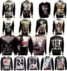 KONFLIC MENS SUBLIMATION CREWNECK SWEATERS CALIFORNIA MARILYN MONROE CALI SWAG