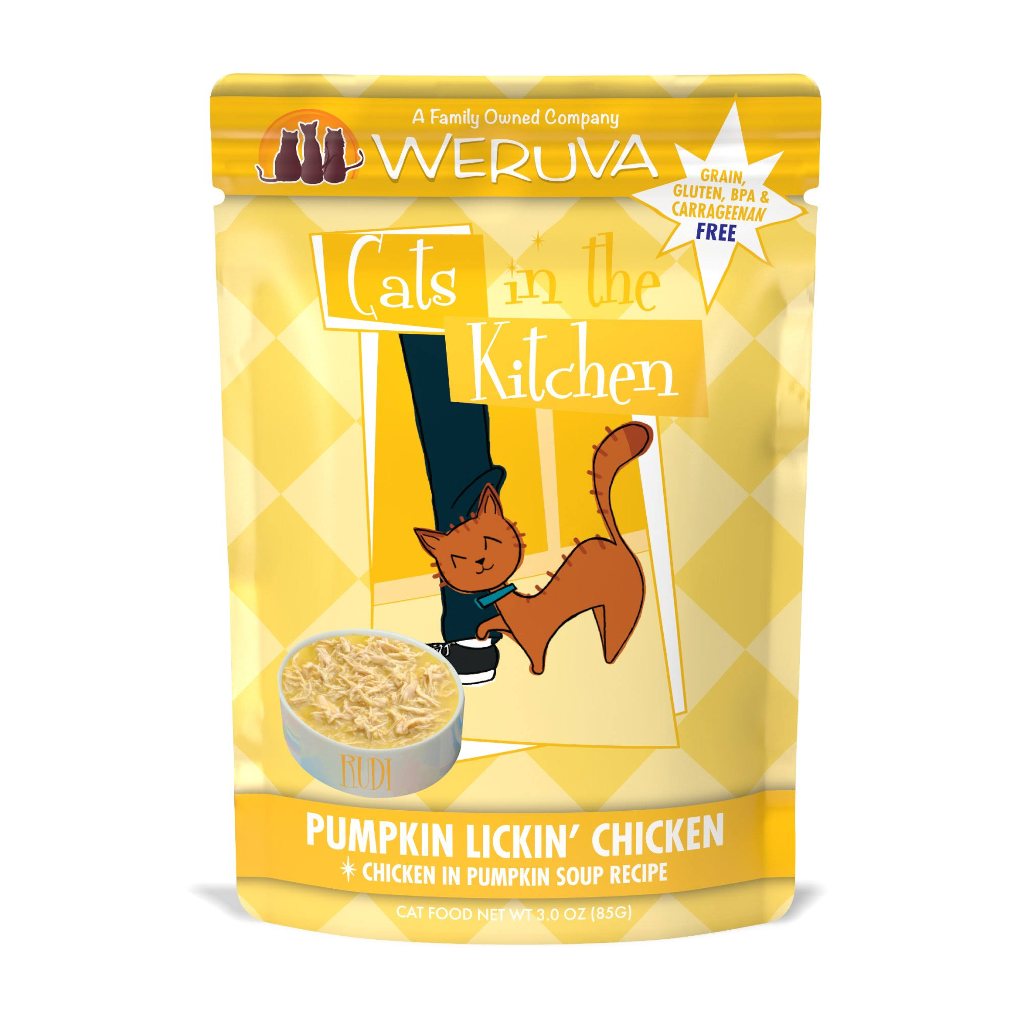 Weruva Cats in The Kitchen Pumpkin Lickin Chicken Pouches Wet Cat Food - 3 oz, Case of 12