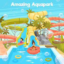 Aquapark Poster Template With Water Pool Slides Pipes Cheerful Family And Children In Flat Style Vector