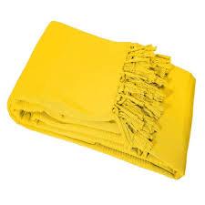 jeté de canapé jaune de canapé à franges