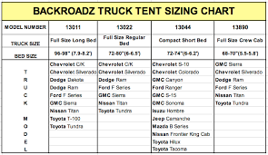 Nissan Frontier Bed Dimensions by Backroadz Truck Tent Size Chart