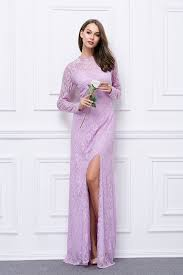 long sleeves lilac lace cut out side slit evening dresses
