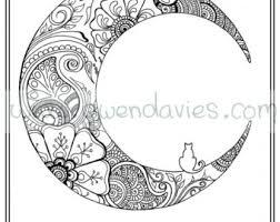 Adult Colouring In PDF Download Moon Cat Calming Mindfulness Henna Zen Mandalas Flower Anti Stress