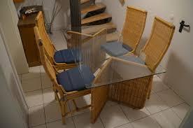 glastisch mit rattan plus 4 esszimmerstühle