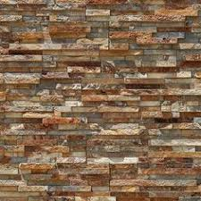 High Resolution Seamless Stone Texture Of Orange And Tan Colored Horizontally Stacked Veneer Cladding