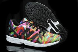 Cheap UK Adidas Zx Flux Wave Pettern Print Multi Color Trainers Free Shipping