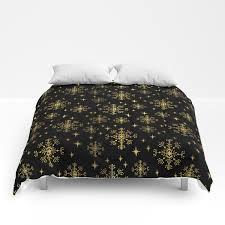 100 Modern Minimalist Decor Gold And Black Snowflakes Winter Minimal Modern Painted Abstract Painting Minimalist Decor Nursery Comforters