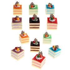 12 pack realistische mini kuchen so tun als nahrungsmittel künstliche kuchen gemischt würfel kuchen modell dekoration